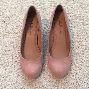Dusty Rose Suede Wedges